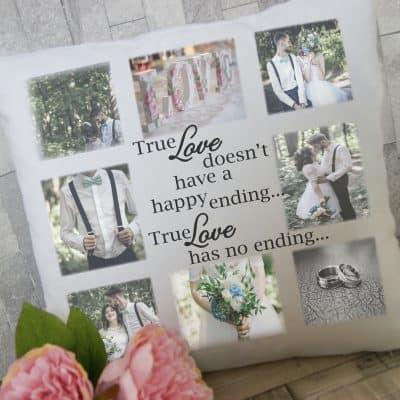Personalised true love photo cushion
