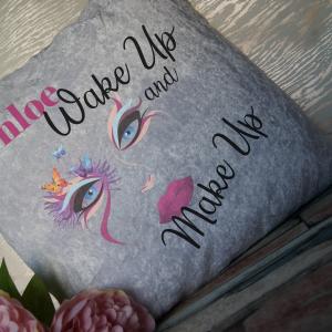 Personalised wake up and make up crushed velvet cushion