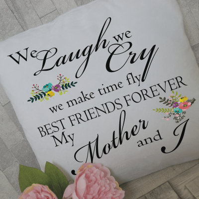 Personalised we laugh we cry cushion