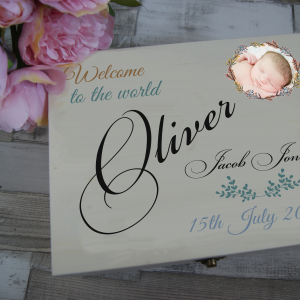 Personalised Welcome To The World Wooden Keepsake Box