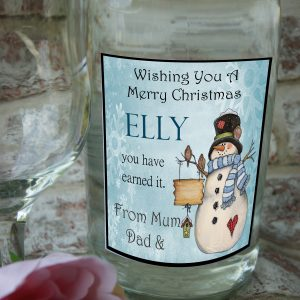 Personalised wishing you a merry christmas snowman wine bottle label