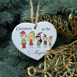 Personalised family christmas heart ornament