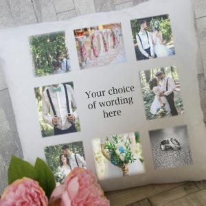 """Personalised """"any wording"""" photo cushion"""