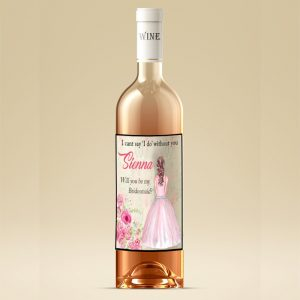 Personalised Will You Be My Bridesmaid Wine Bottle Label