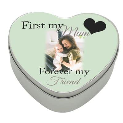 Personalised First My Mum Forever My Friend Heart Tin