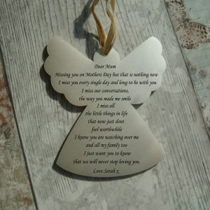 Personalised Missing You On Mothers Day Hanging Angel