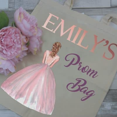 Personalised Prom Tote Bag With Rose Gold Vinyl Lettering