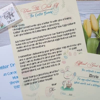 Personalised Easter Bunny Letter, Certificate & Keyring