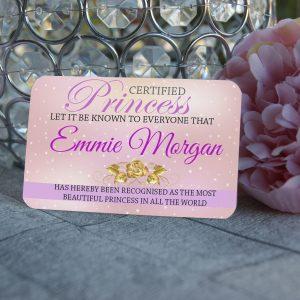 Personalised Aluminium Certified Princess Wallet Card