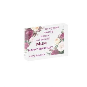 Personalised Super Amazing Mum Crystal Block