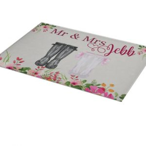 Personalised Mr & Mrs Welly Chopping Board