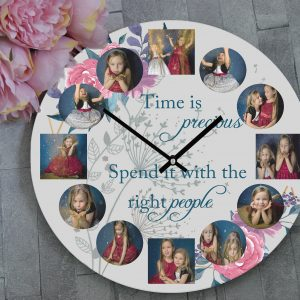 Personalised Time Is Precious Wooden Clock