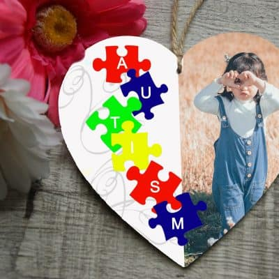 Personalised Autism Wooden Hanging Heart