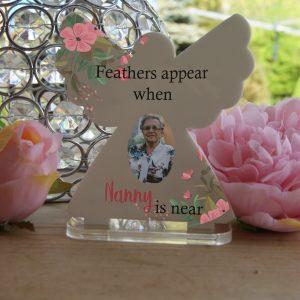 Personalised Feathers Appear Tea Light Angel