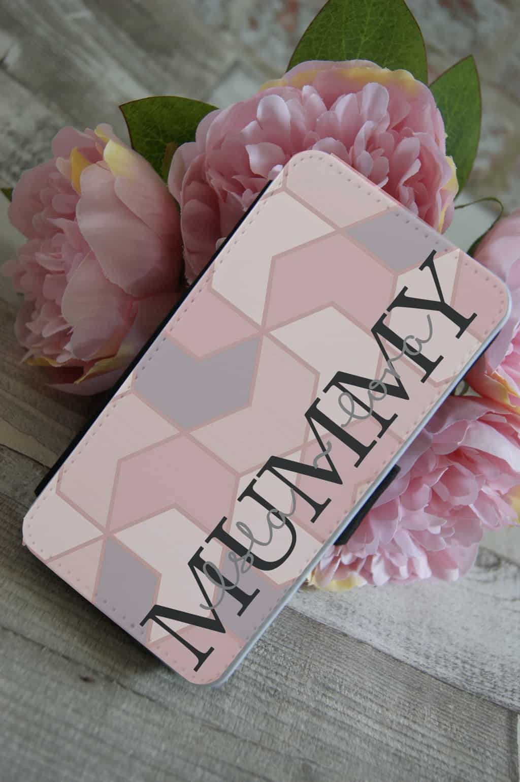 reputable site 12b51 7f582 Personalised Mummy PU Leather Phone Flip Case