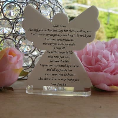 Personalised Missing You On Mothers Day Tea Light Angel