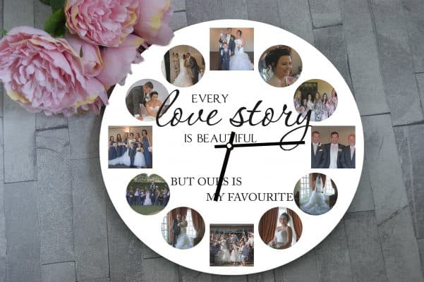 Personalised Every Love Story Is Beautiful Clock
