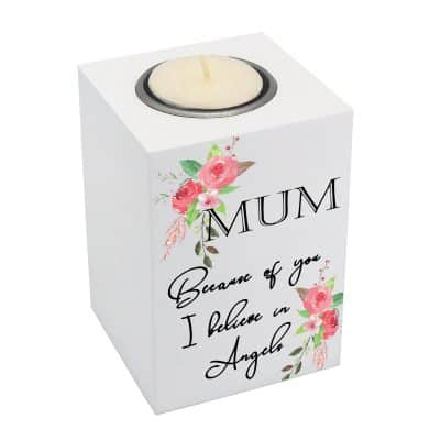 Personalised I Believe In Angels Luxury Tealight Holder
