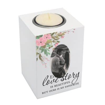 Personalised Every Love Story Luxury Tealight Holder