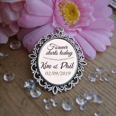 Personalised Forever Starts Today Wedding Bouquet Charm