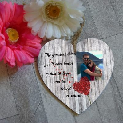 Personalised The Greatest Gift You Will Ever Learn Wooden Hanging Heart