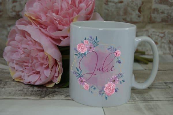 Personalised Name Flower Circle Mug