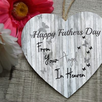 Personalised Happy Fathers Day From Your Angel In Heaven Wooden Hanging Heart
