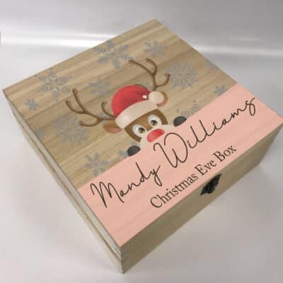 Personalised Reindeer Christmas Eve Deep Wooden Box