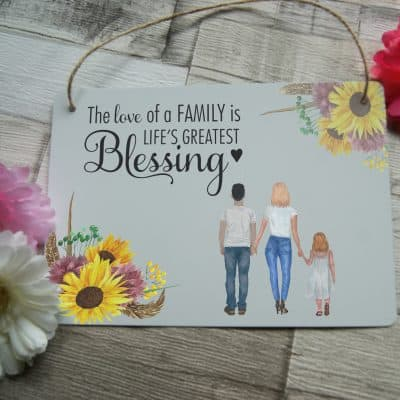 Personalised The Love Of A Family Hanging Sign