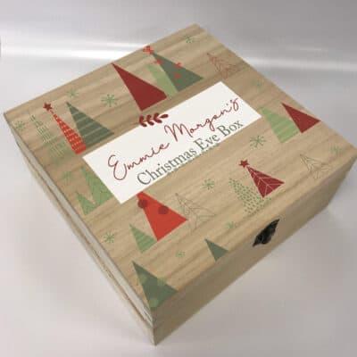 Personalised Christmas Tree Deep Wooden Box