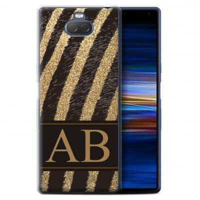 Personalised Fashion Animal Print Pattern Gold Glitter Hard Back Phone Case
