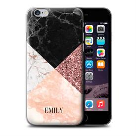 Personalised Custom Geometric Marble Glitter Bling Modern Fashion Hard Back Phone Case