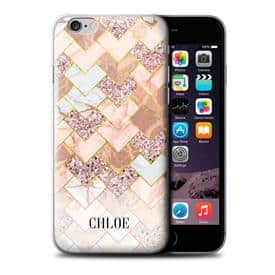Personalised Custom Geometric Marble Glitter Chevron Mosaic Sparkle Hard Back Phone Case