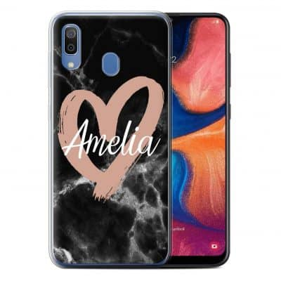 Personalised Custom Rose Gold Pink Hearts Black Marble Painted Heart Hard Back Phone Case