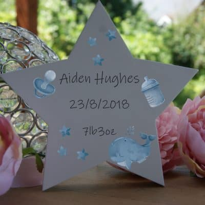 Personalised Birth Announcement Freestanding Wooden Star