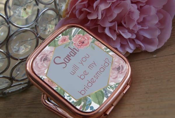 Personalised Will You Be My Bridesmaid Rose Gold Compact Mirror