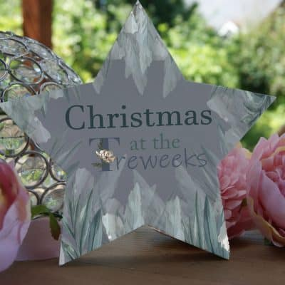 Personalised Christmas At The Family Freestanding Wooden Star