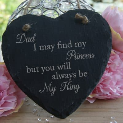 Personalised Dad You Will Always Be My King Slate Hanging Heart