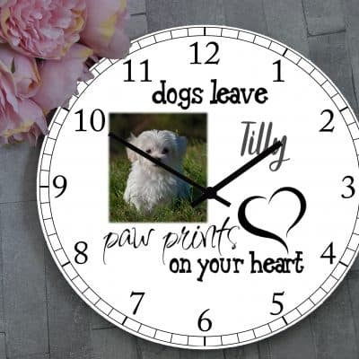 Personalised Paw Prints On Your Heart Clock