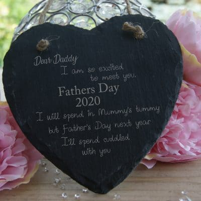 Personalised Dad To Be Fathers Day Slate Hanging Heart