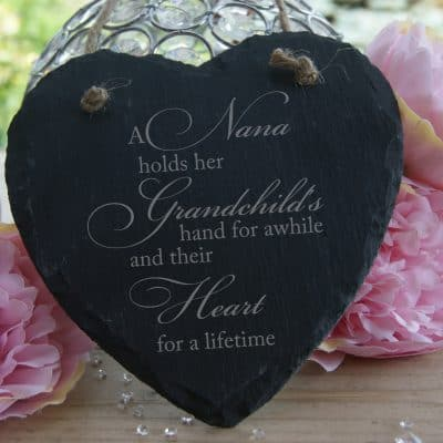 Personalised Holds A Grandchilds Hand Slate Hanging Heart