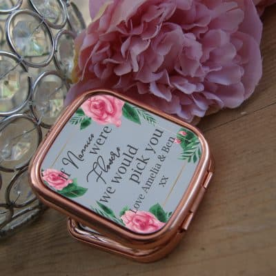Personalised If Nannies Were Flowers Rose Gold Compact Mirror