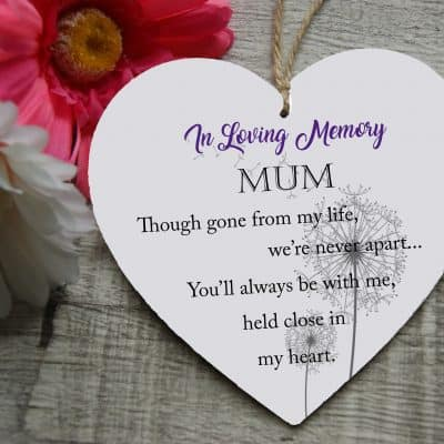 Personalised In Loving Memory Wooden Hanging Heart
