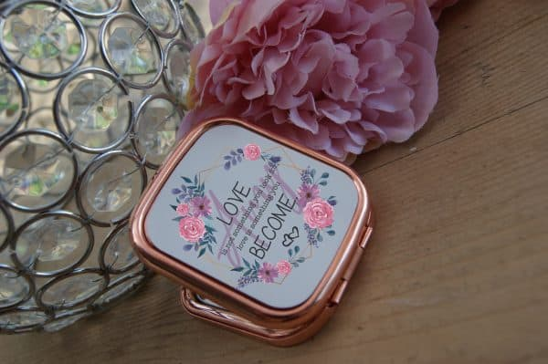 Love Rose Gold Compact Mirror