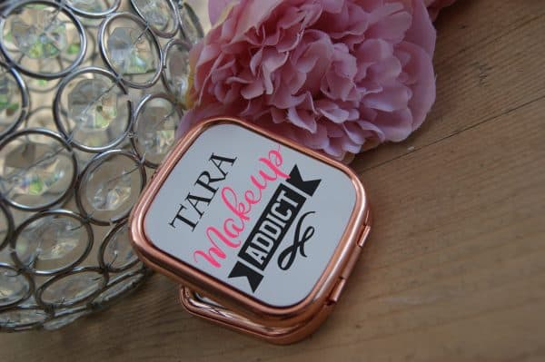 Personalised Make Up Addict Rose Gold Compact Mirror