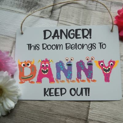 Personalised Bedroom Monster Name Hanging Sign