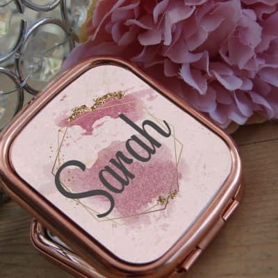 Personalised Name Rose Gold Compact Mirror