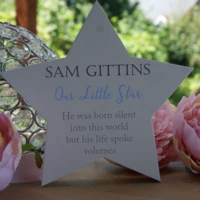 Personalised Born Silent Freestanding Wooden Star