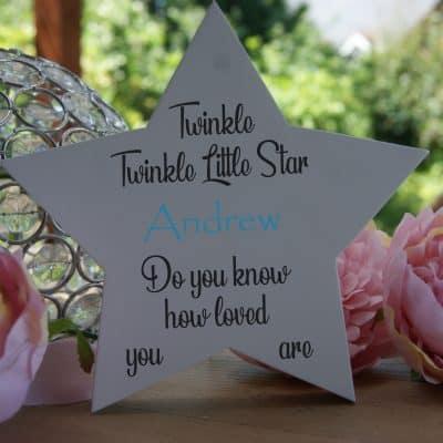 Personalised Twinkle Twinkle Freestanding Wooden Star