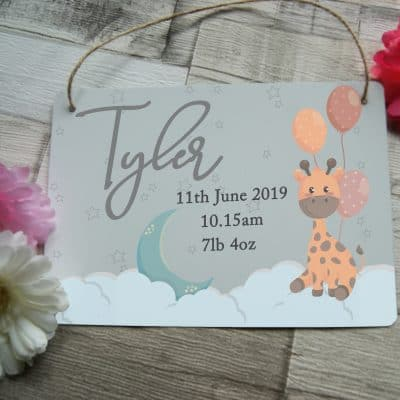Personalised Giraffe Birth Announcement Hanging Sign